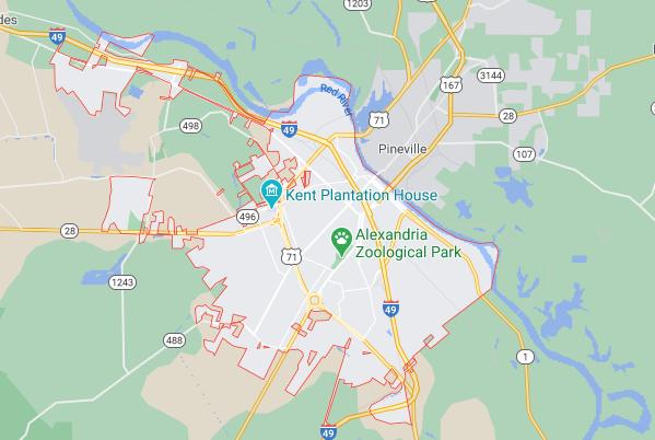AAA Public Adjuster Alexandria  Louisiana - Alexandria  la Map Image